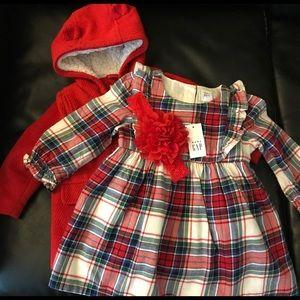 Baby girl holiday dress, coat and headband
